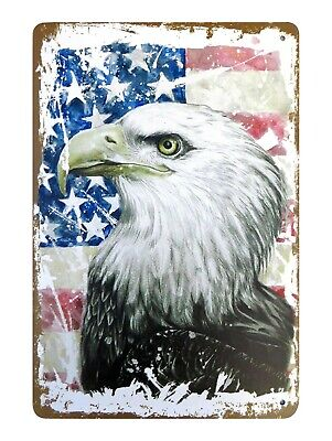 plaque retro home decor American flag bald eagle tin metal sign