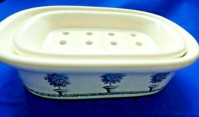 Crabtree & Evelyn Blue and White Soap Dish Two Pieces Japan