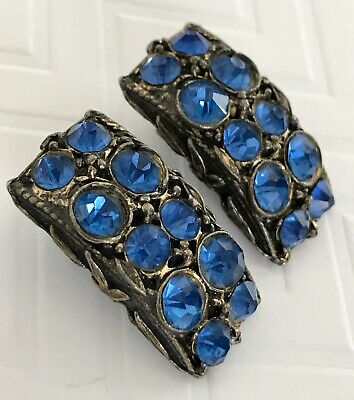 Vintage Art Deco Clip On Earrings Blue Montana Colored Rhinestone Multi Faceted