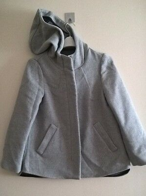 ZARA BASICS Designer Women's Girls Grey Hooded Casual Jacket Coat Size EUR XS