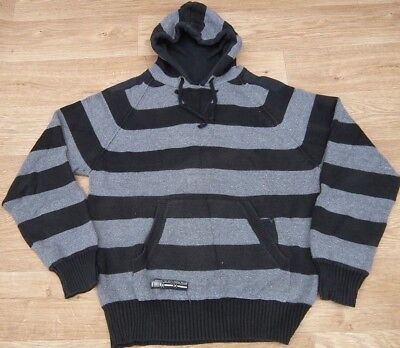 Brave Soul Grey /Blue Think Strip Hooded Lined Pull On 77% Cotton Jumper