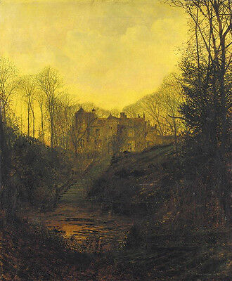 Hand painted oil painting John Atkinson - House by stream landscape in sunset
