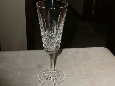"""Signed Waterford Lismore Champagne Flute Glass 7 1/2"""" Lead Crystal"""