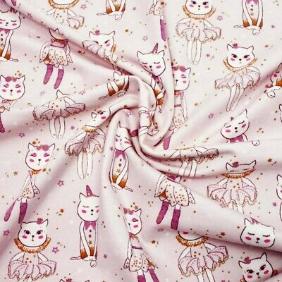 Delicats Chatons Rose Jersey - 100% Cotton Chat Tissu Childen Matelassage