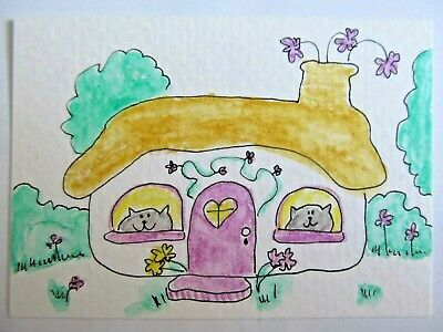 ACEO Original Watercolor Cats Window Little Meadow House Signed Artist MiloLee