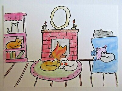ACEO Original Watercolor Cats by the Fire Fireplace Kitty Signed Artist MiloLee