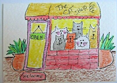 ACEO Original Watercolor The Cat Shop Kitties in Window Signed by Artist MiloLee