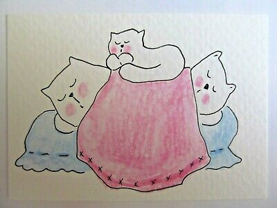 ACEO Original Watercolor Cat Bed 3 Sleepy Kitties Pink Signed by Artist MiloLee