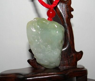 1.9 Certify China Nature Hisui Jadeite Jade Grade A Fortune Pixiu&Ruyi Necklace