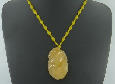 """2.1""""China Certified Nature Gold Jade Fortune Rat and Lotus Necklace Pendants"""