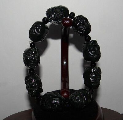 """0.8"""" China Certified Nature Hetian Nephrite Jade Double Carved Buddha Bracelets"""