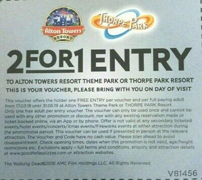 💖 2 for 1 Entry Voucher Alton Towers or Thorpe Park Resort