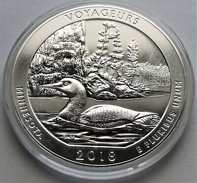 2018  ATB Voyageurs National Park 5 oz Silver BU Coin.