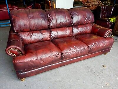 Terrific Vintage Rare Oxblood Red Huge 3 Seater Chesterfield Leather Cjindustries Chair Design For Home Cjindustriesco