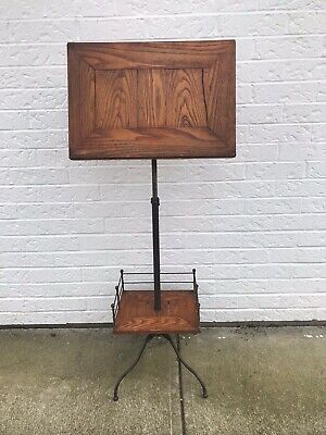 Antique Adjustable Wood and Iron Lectern Podium Book Music Stand