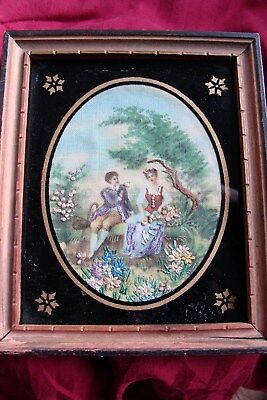 """Beautiful Antique Miniature on canvas- Francois Boucher-Embrodiary-5X6"""""""