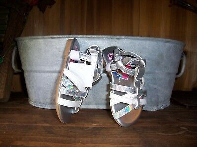 Shimmer And Shine Girls Toddler Flip Flops Size 8 Silver Ankle Strap Casual New