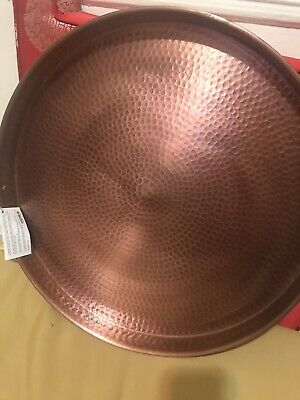 """Old Dutch Solid Copper 21"""" X 20"""" X2 Round Tray Made In India Cast Handle Brass"""