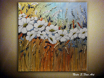White Flowers Painting, Abstract Floral Art, Original Large Wall Art by Nata S.
