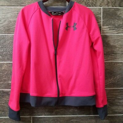 Under Armour Youth Kids Girls Top Track Jacket Zip Up Bright Pink Size Xl