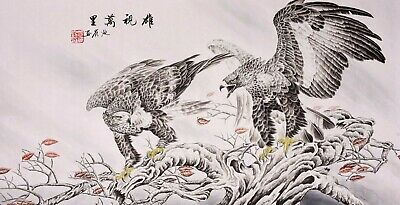 Eagle Birds lover-ORIGINAL FAMOUS ASIAN FINE ART CHINESE WATERCOLOR PAINTING