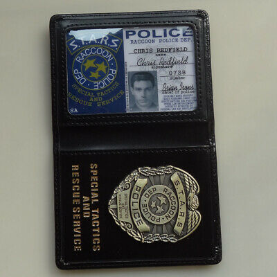 RESIDENT EVIL S.T.A.R.S Chris POLICE METAL BADGE WITH ID WALLET HOLDER CASE