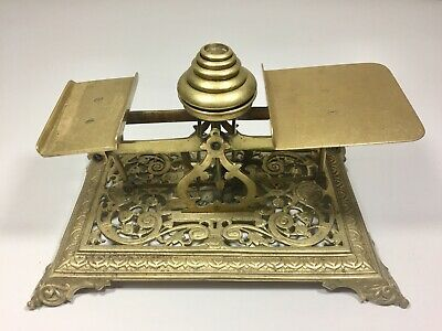 Solid Brass Antique Victorian English Mail Scale  ca. 1885
