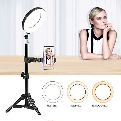 "10"" LED Ring Light Dimmable 5500K Continuous Lighting Stand Makeup Youtube Kit"
