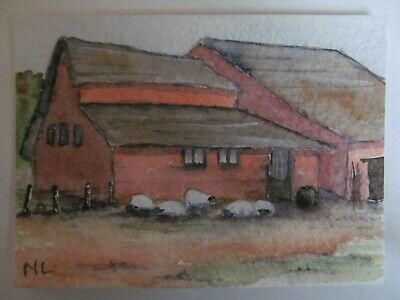 ACEO Original Watercolor Painting The Sheep Barn Suffolk England Nancy Lavender