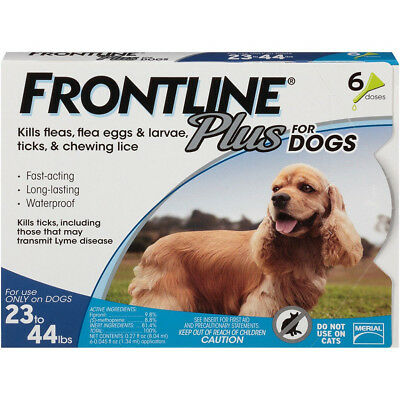Frontline Plus Flea & Tick Treatment for Medium Dogs 23-44 lbs 6 Doses New