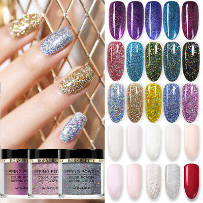 BORN PRETTY Nail Art Dipping Powder Glitter Holographic Chameleon Acrylic Tips