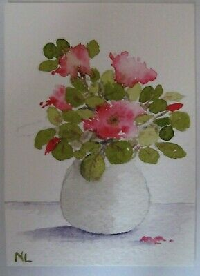 ACEO Original Watercolor Painting Pretty in Pink Flower Vase Nancy Lavender