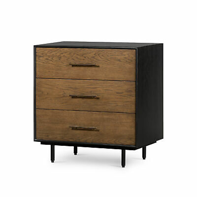 "31"" T Fabrizia Dresser Black Iron Casing Warm Natural Oak Drawers Contemporary"
