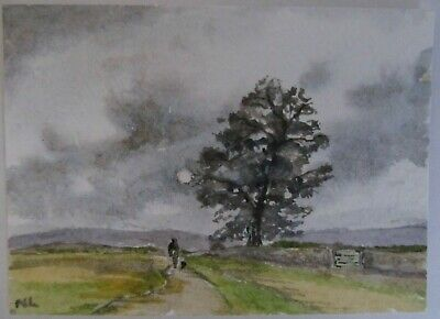 ACEO Original Watercolor Painting Evening Walk English Landscape Nancy Lavender