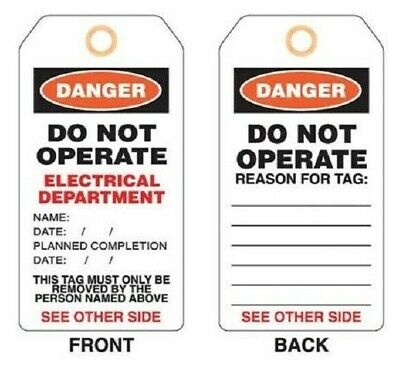 Promark PLASTIC LOCKOUT TAG Tie On, Imprint 'Electrical Department' *Aust Brand