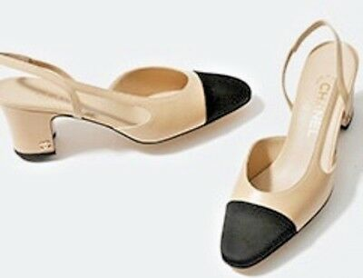 447a9caac1c CHANEL ICONIC RUNWAY Two Tone Slingback Leather Pumps Heels
