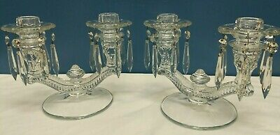 Vtg Antique Pair Of Cambridge Decorative Glass Candlesticks With Hanging Prisms