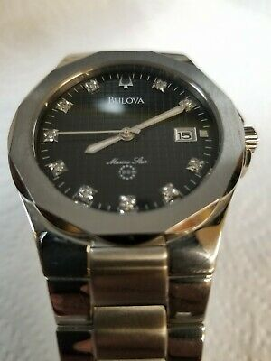 Men's Classic Bulova Diamond Black Dial Marine Star Quartz Watch With Date