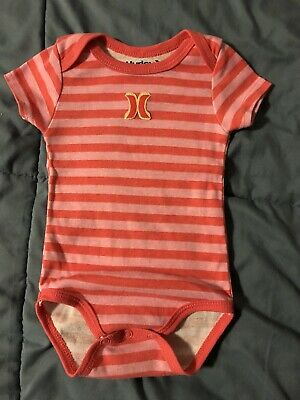Hurley Baby Girls Size 000 0-3 Mths Romper One Piece Summer Suit Pink Orange