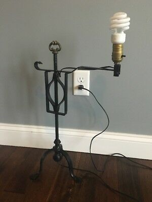 Antique Iron Table Top Lamp Swing Arm 3 Curved Feet Brass Finial Works
