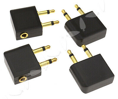 4 X plane Airline Airplane headphone adapters Gold Plated 3.5mm jack plug