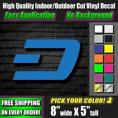 Dash Decal Crypto DSH Sticker Bitcoin Cryptocurrency Truck Mining laptop rig