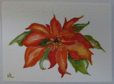 ACEO Original Watercolor Painting Christmas Poinsettia Red Flower Nancy Lavender
