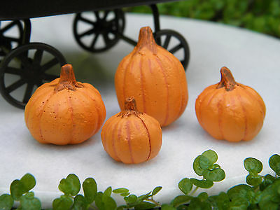 Miniature Dollhouse FAIRY GARDEN Accessories ~ Set of 4 Pumpkins Halloween ~ NEW