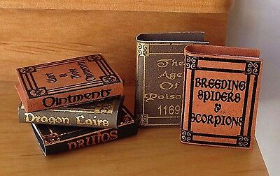 Miniature Dollhouse HALLOWEEN Harry Potter ~ Set of 5 Wizard Reference Books NEW