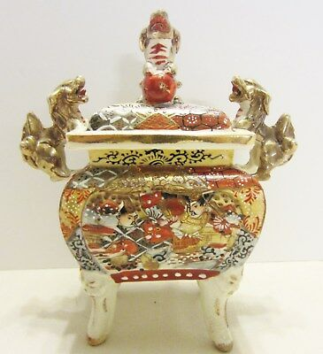 Antique Asian 4 Legged Porcelain Lidded Box with Gold Foo Dog Handles Signed