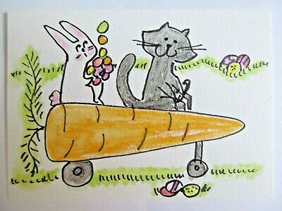 ACEO Original Watercolor Cat Rabbit Carrot Egg Delivery Signed by Artist MiloLee