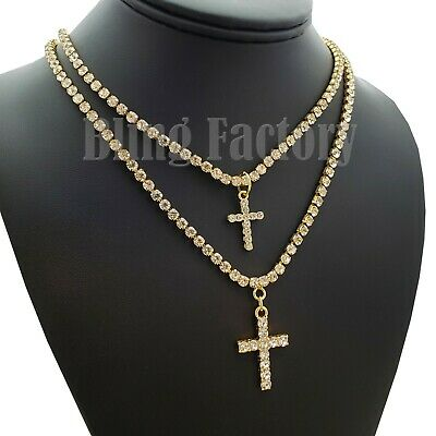 """Iced Double Cross Pendant & 3mm 16"""" & 18"""" 1 Row Tennis Chain Necklace"""