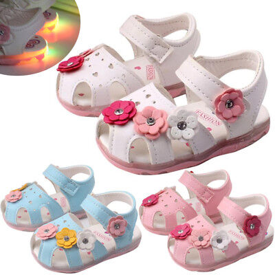 Toddler Kids Baby Girl LED Luminous Sandals Soft Leather Summer Shoes Sneakers A