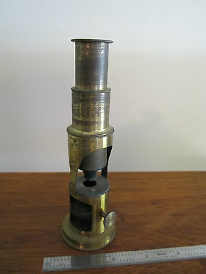 Vintage Very Old Monocular Microscope Brass Manufacturer